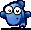 Blue fish - gartoon {PNG}